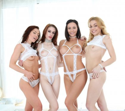 Alysa Gap, Sheena Shaw, Anna De Ville, Rebecca Black - Lesbian Anal Foursome | artporn 365 days video in hd 720p